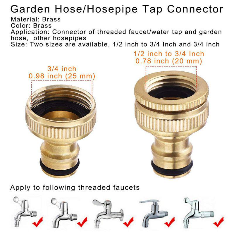 4 Pcs 1//2 Inch Quick Connect Adapter Tap Water Hose Pipe Connector Garden Tool