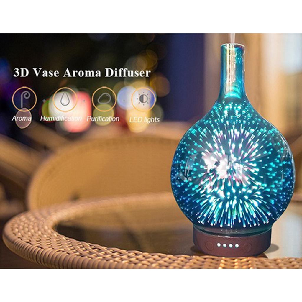 3D Glas Feuerwerk Bunt LED-Aromatherapie Ätherisches Öl Diffusor Luftbefeuchter