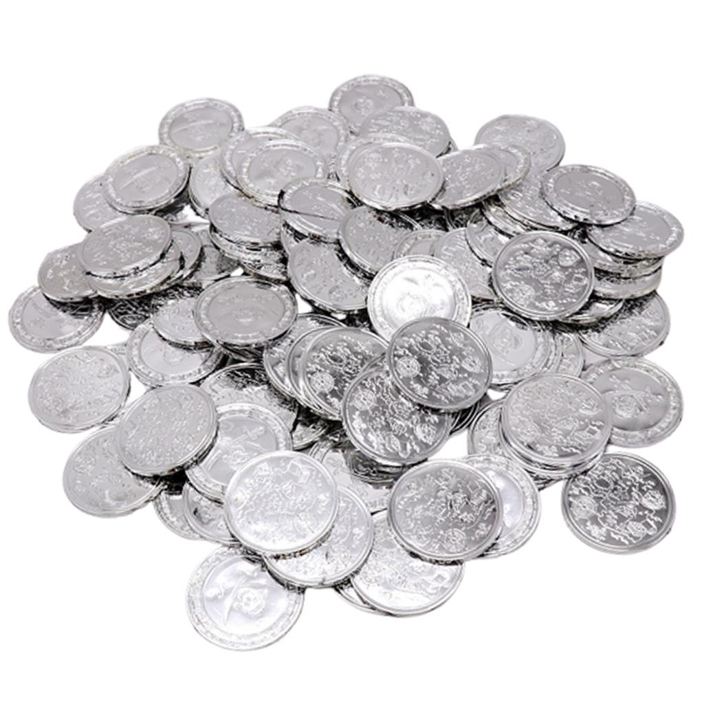 Party bag fillers 100 Plastic Party Silver Pirate Treasure Coins