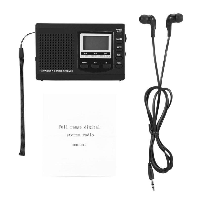 Alarm Clock Mini Portable Mini Stereo Radio FM//MW//sw Full Band Receiver Digital Alarm Clock Music Player Loudspeaker Clock