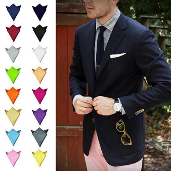 Details about  /Men/'s Handkerchief Solid Color White Black Red Pocket Square 22cm Wedding Busine