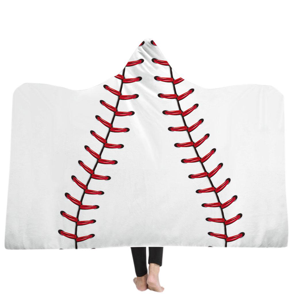 Oversized Soccer Pattern Hooded Sherpa Blanket Printed American Football Cloak