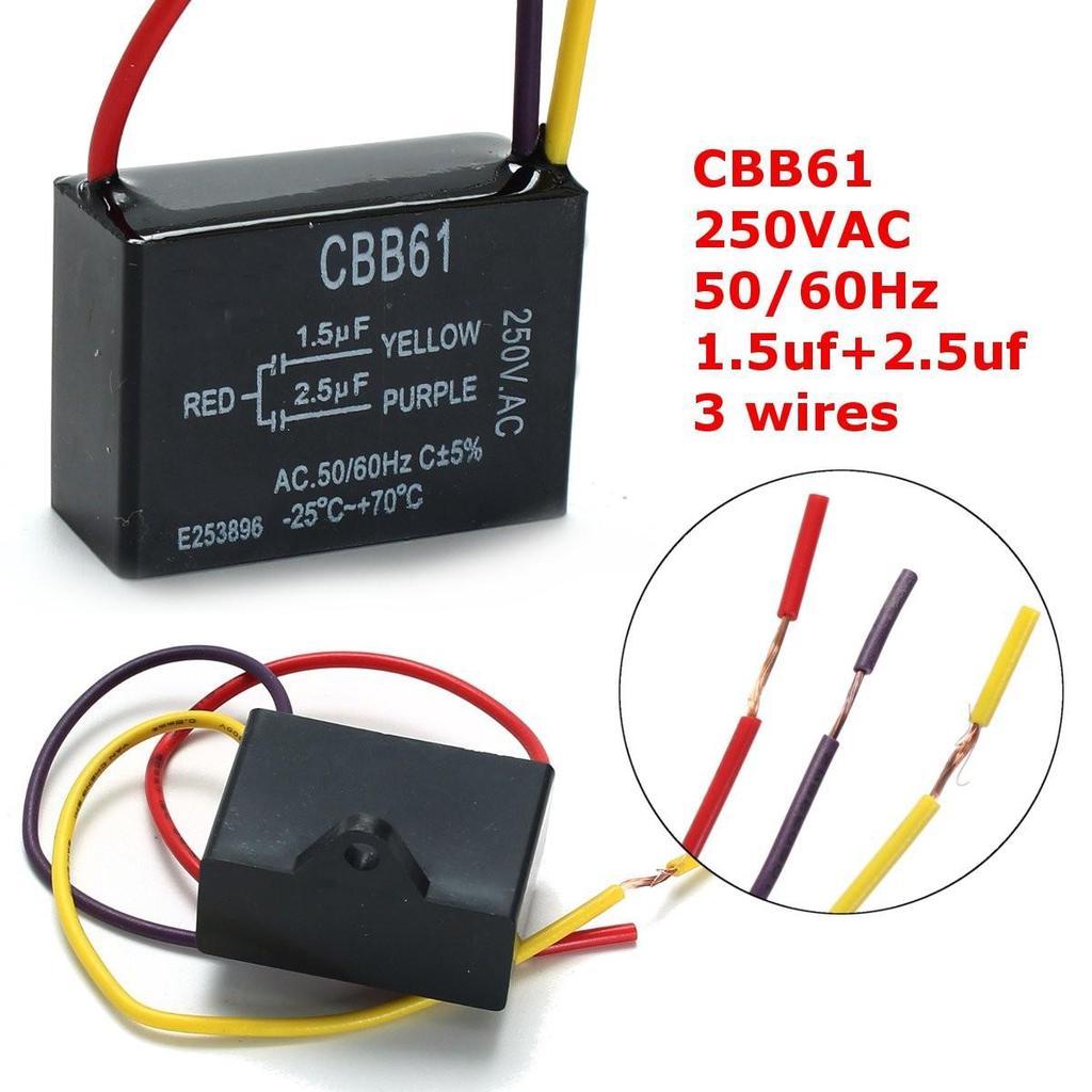 Schwarz CBB61 1.5uF + 2.5uF 3 Drähte 250V AC 50/60 Hz Kondensator ...