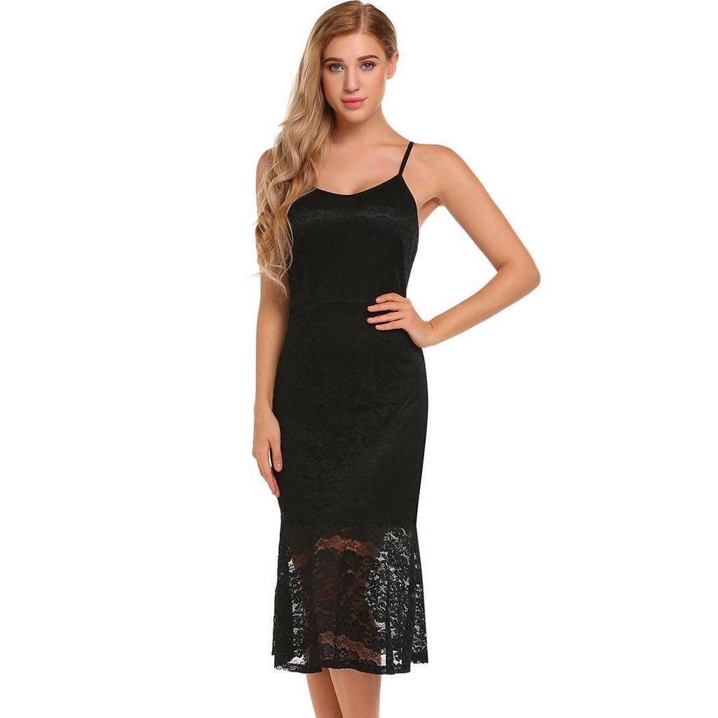 88977af0a9fac6 Women Sexy Spaghetti Strap Floral Lace Evening Party Bodycon Midi ...