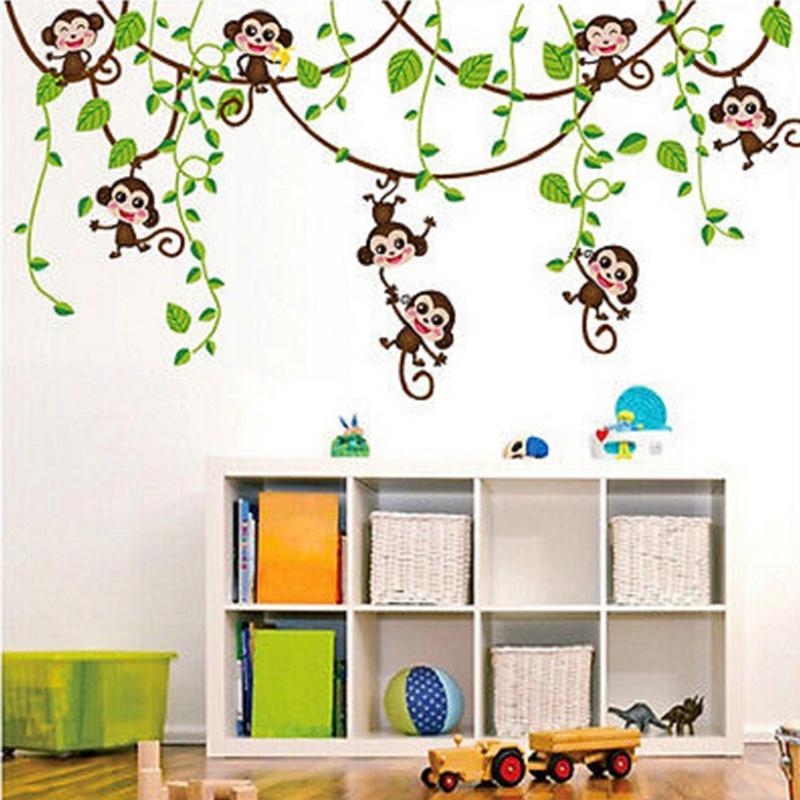 Wall Sticker Jungle Wild Animals Branched Height Chart Measurement Mural Wall