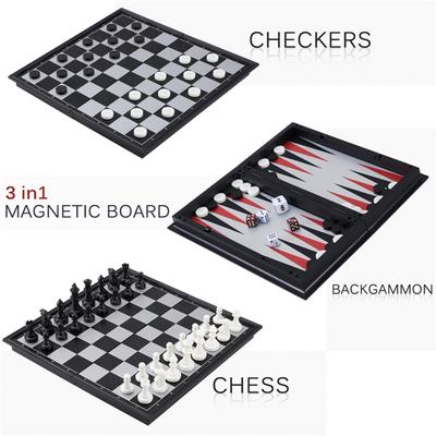 and Backgammon Game Set 3-in-1 Wood Combination Chess Checkers