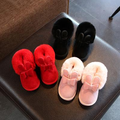 Baby Girl Snow Boots Children Boot Winter Warm Plush Rabbit Princess Shoes Kids Sneaker Soft Boots