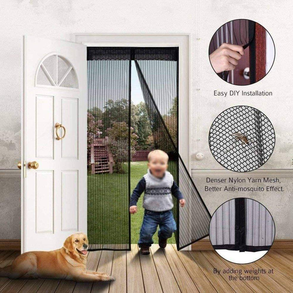BLACK MAGNETIC BUG SCREEN Snap Shut Door Curtain Fly Mosquito Insect Net Mesh UK