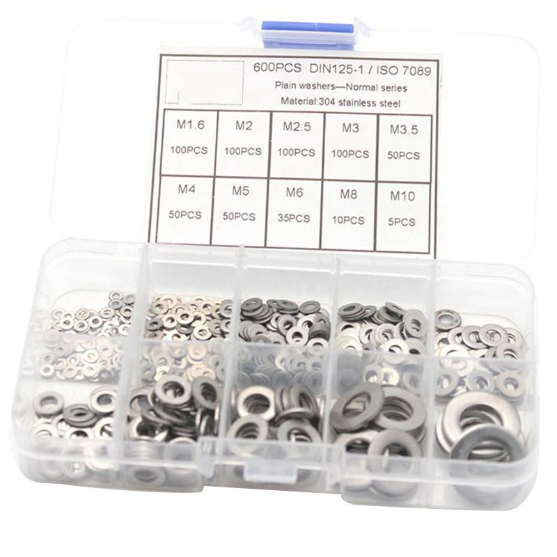 Flat Washer Assortment Kit 180Pcs M2 M2.5 M3 M4 M5 M6 M8 M10 Brass Flat Washer Set with Plastic Box