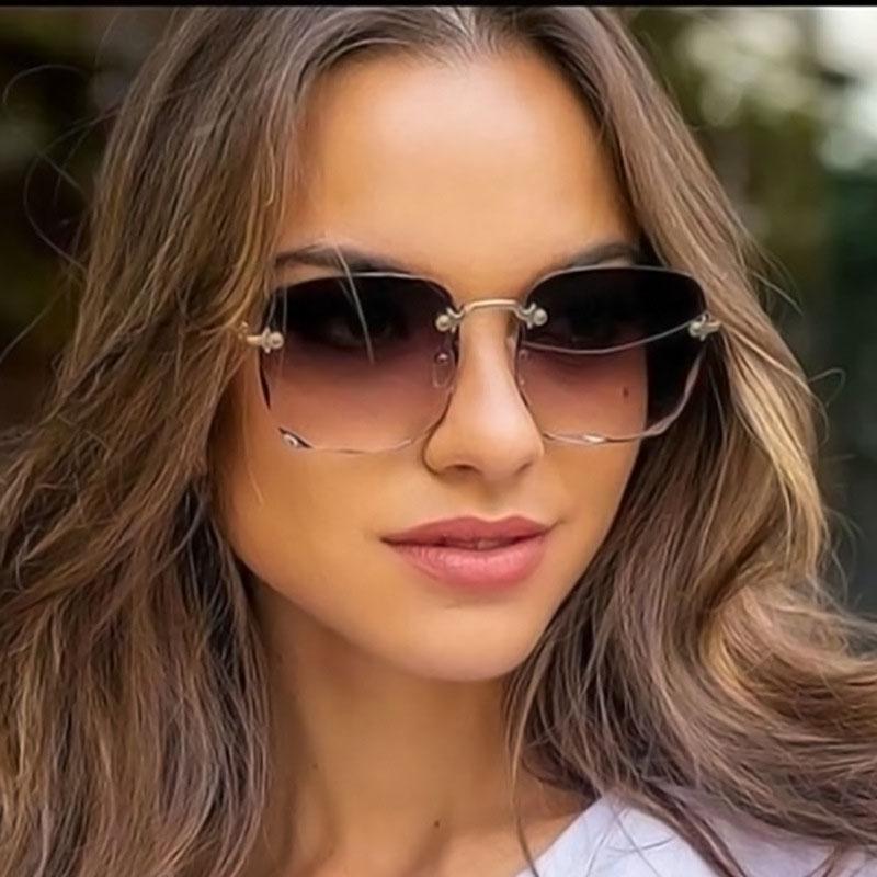 Женские солнцезащитные очки без оправы. Цвет линз в ассортименте – купить по низким ценам в интернет-магазине Joom