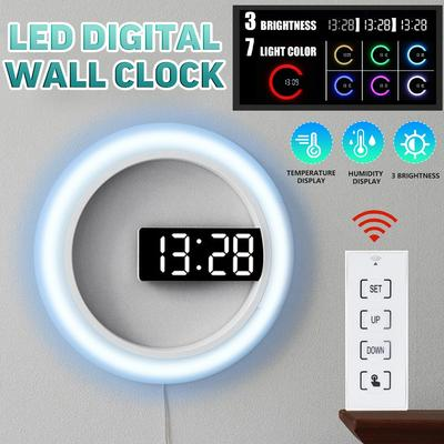 4 Colors 12 Inch 3 Brightness Remote Control LED Digital Time Temperature Display Wall Clock Hollow Changing Night Backlight Thermometer Clock