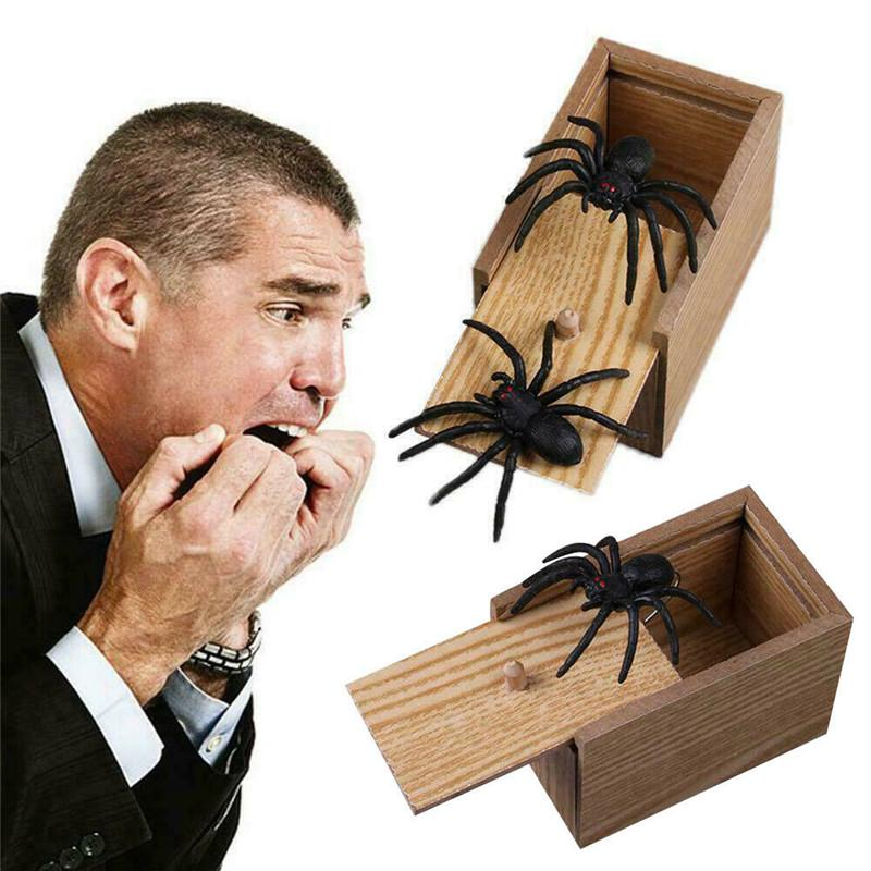 Trick Prank Toy Lifelike SPIDER Animal Hidden in Wooden Box Surprise Shock Joke