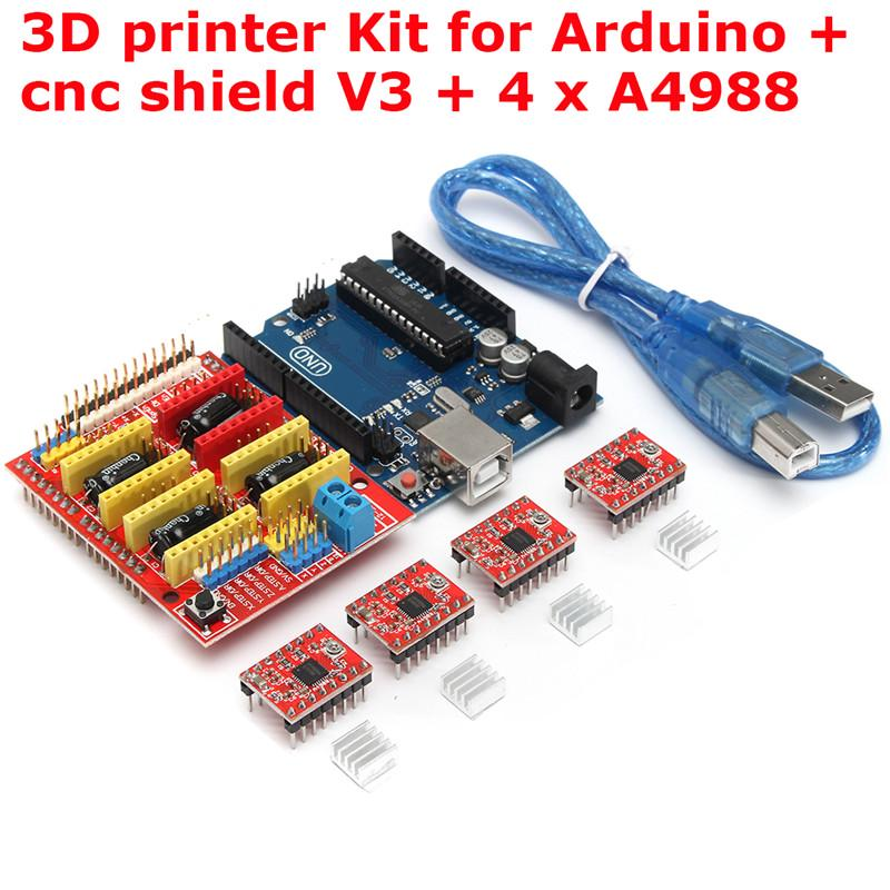 4x Driver A4988 CNC Shield V3 Expansion Board Arduino Engraver 3D Printer GRBL