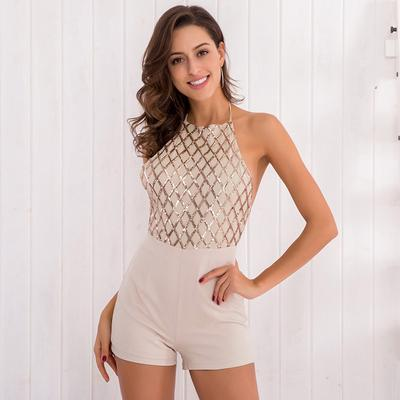 f464ebe5a48d Jumpsuits Rompers For Women O Collar Sexy Backless Halter Piece Shorts Pants  Sequins