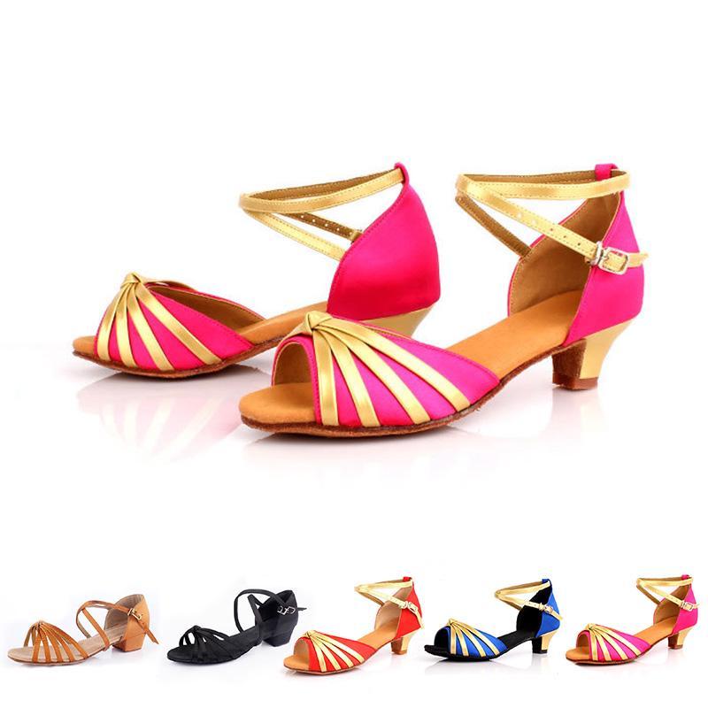 Ballroom Salsa tango heeled latin dance shoes children girls Kids ... d3d3040b536a