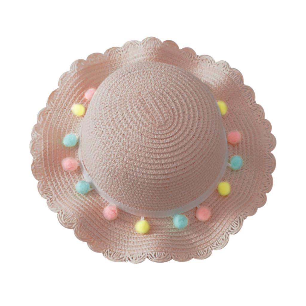 Tassel Balls  Breathable Colorful  Straw Hats Baby Hat  Visor Caps Beach Cap