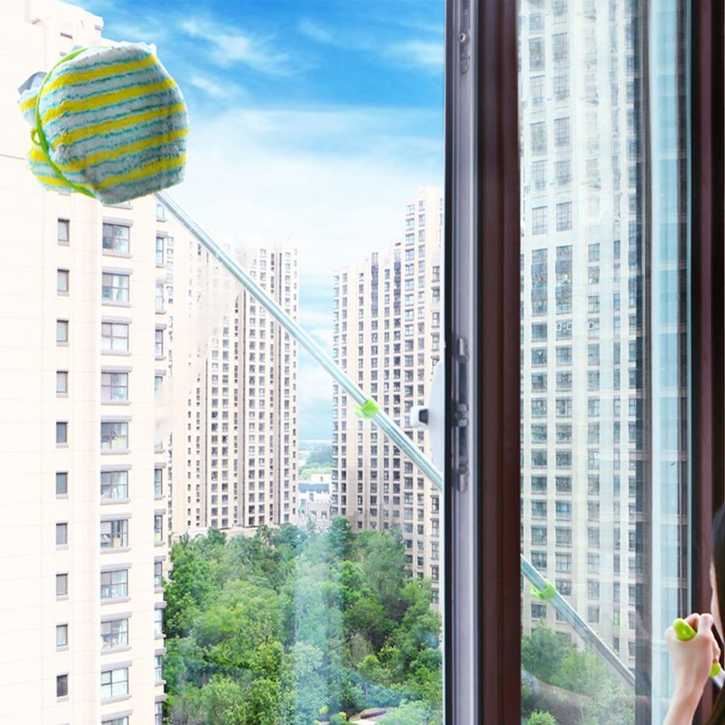U Shape Telescopic High-rise Window Mirror Cleaning Glass Cleaner Dust GK