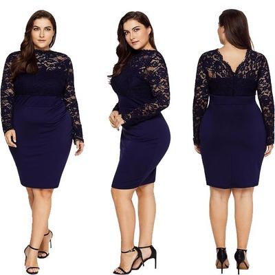e19bf29adb5 Точек летних женщин элегантный сексуальный кружевной платье с длинным  рукавом моды Bodycon пакет плюс размер XL