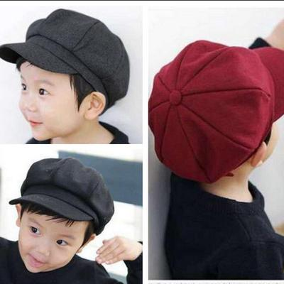 Fashion Autumn Korean Children Winter Beret Solid Color Octagonal Girl Cap  Kid Hat Outdoor Caps Boys 3a9be11455a4