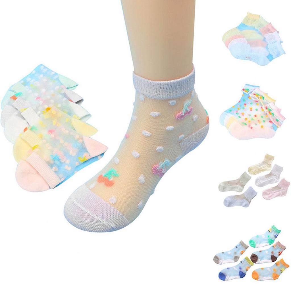 3-12 Pairs Kids Girls Children Socks Patterned Floral Design Cotton Blend Style