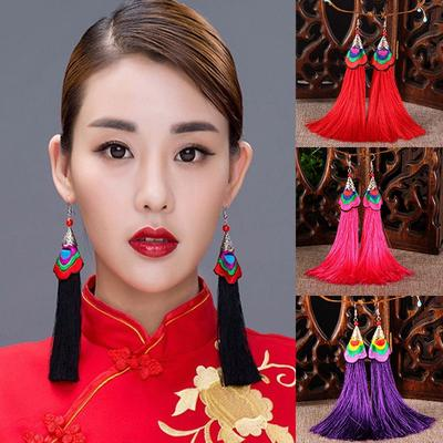 Mode Charme Femmes Broderie Silk Tassel Fringe Goutte Dangle Ear Stud Boucles d/'oreilles
