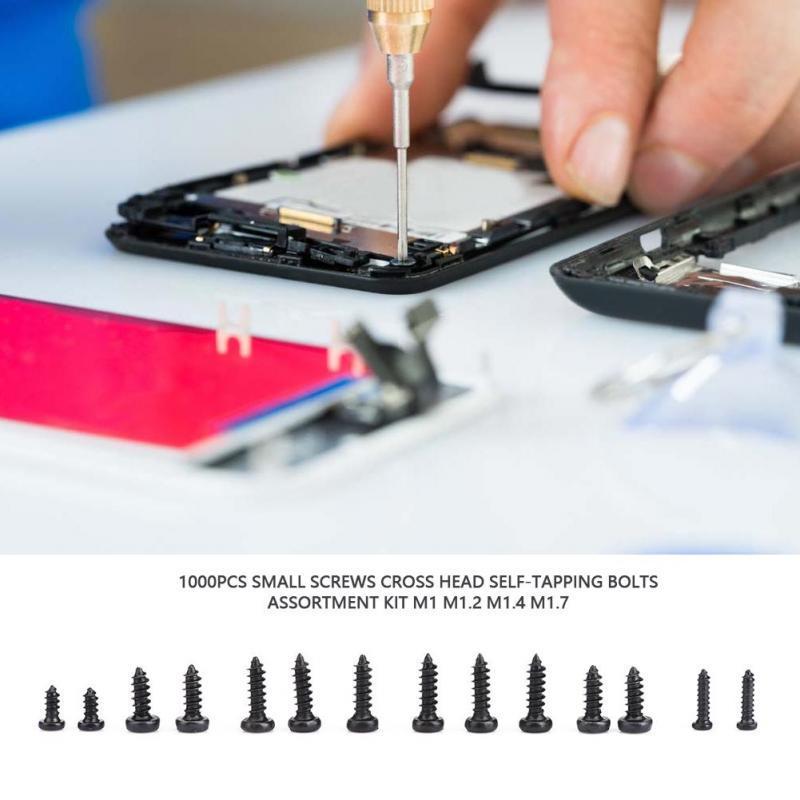 1000pcs M1//M1.2//M1.4//M1.7 Stainless Steel Screws Cross Head Bolts Set Box