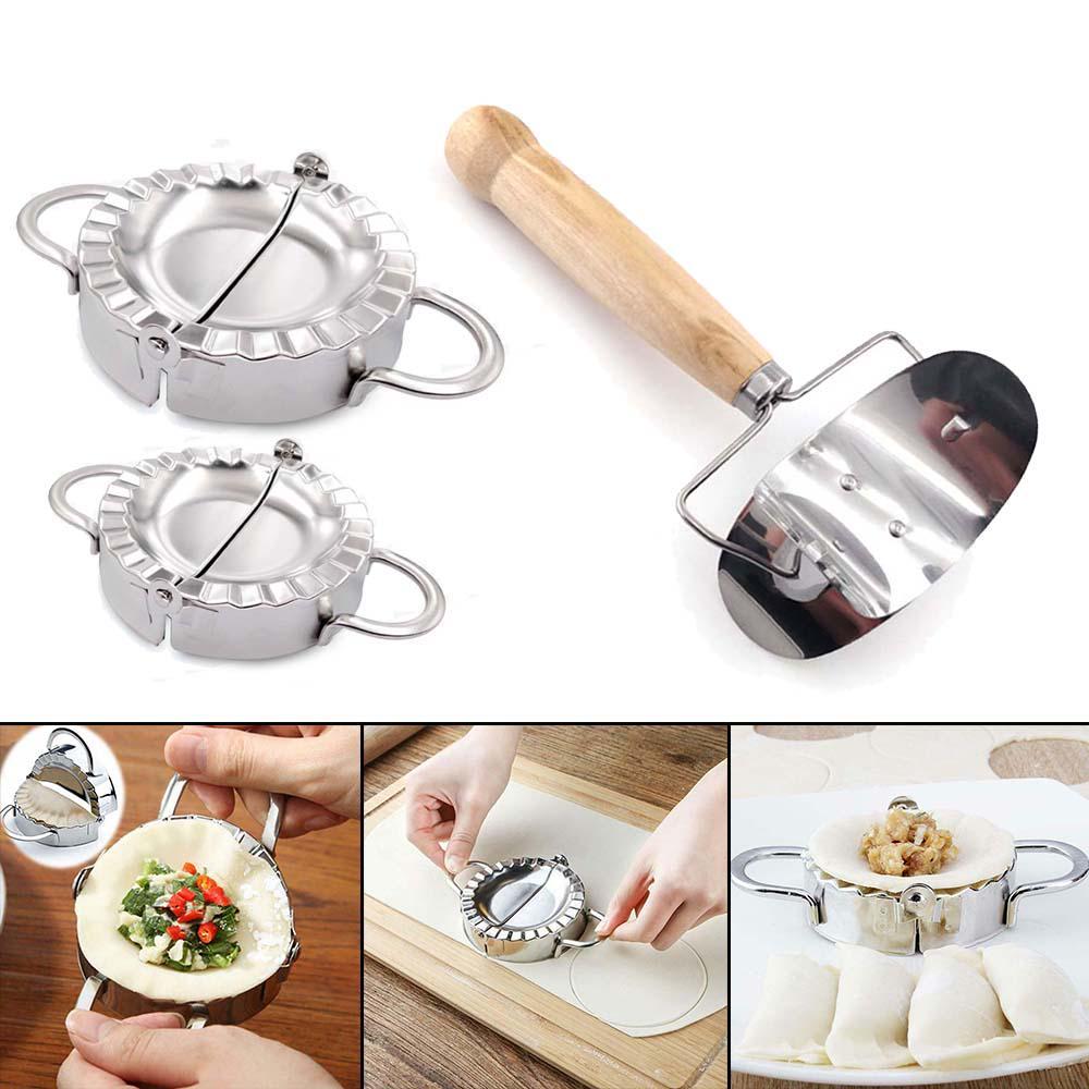 Set Of Dumpling Mould Maker Slicer Cutter Stainless Steel DIY Easy Kitchen a