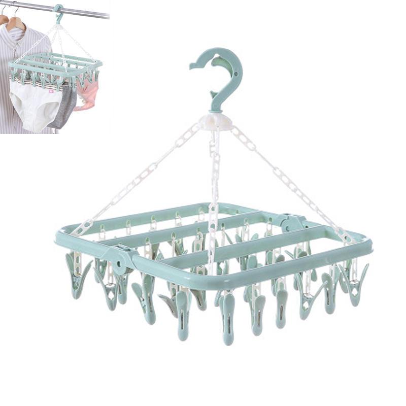 Folding Clothes Hanger Socks Bras Underwear Drying Rack 32 Pegs Pop