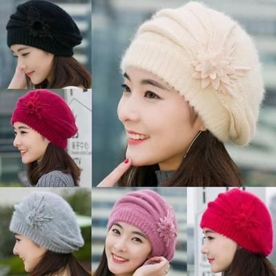 Wunderbare Mode Womens Blume Knit Beanie Mütze Winter Warm Cap Mütze