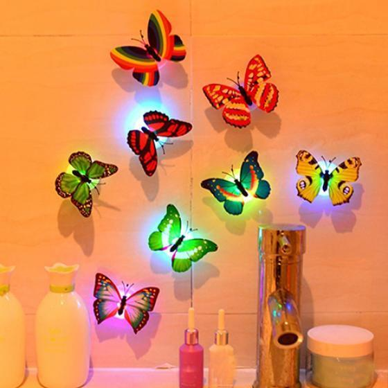30Pc Glowing 3D Butterfly LED Wall Stickers Light Art Decal Lamp Home Room Decor