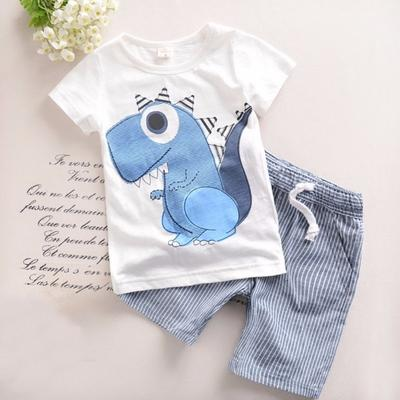 Summer Clothing Set for Boys Cartoon Aircraft T-Shirt Stripe Shorts 2PCS Outfit Set