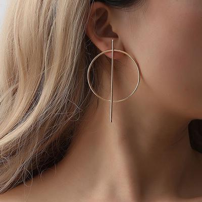 Charming Big Circle Earrings Rhinestone Crystal Hollow Ear Clip Hoop N7
