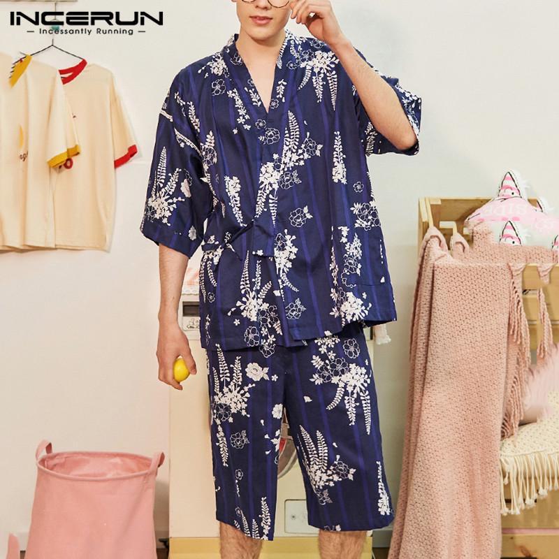2PCS Men/'s Kimono Yukata Pyjamas Japanese Style Bathrobe Floral Print Sleepwear
