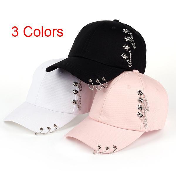 Baseball Cap Fashion Women Sun Hat Baseball Cap White Pink Summer Outdoor Sunscreen Caps Couple Men Iron Ring Hats Snapback Hats