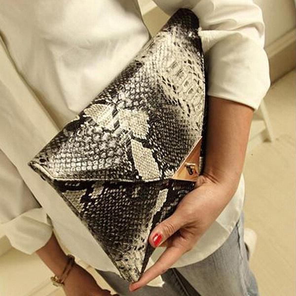 Womens Fashion Classy Envelope Evening Snake Skin Embossed Clutch Hand Bag Purse