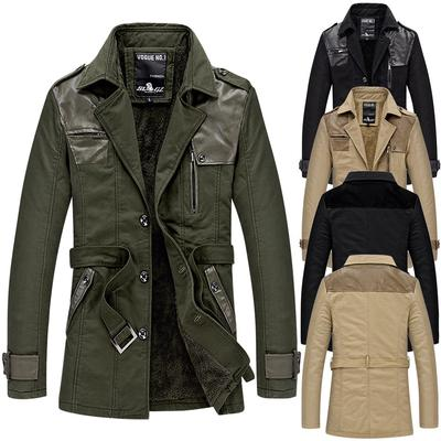 Waterproof Work Jackets for Men.Fashion Mens Autumn Winter Casual Pocket Button Thermal Leather Jacket Top Coat