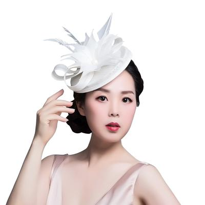 270242027acba Elegant Big Flower Decor Mini Hair Clip for Women Wedding Party Feather  Fascinator Hat