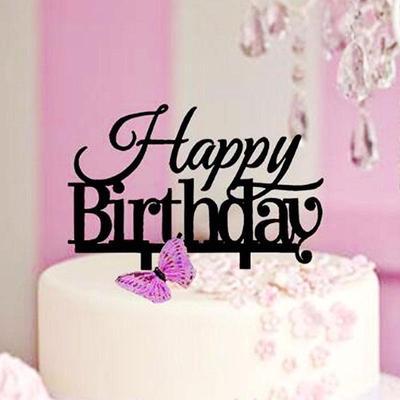Happy Birthday Cake Topper Acrylic Elegant Party Decorations Kids Supplies Decor