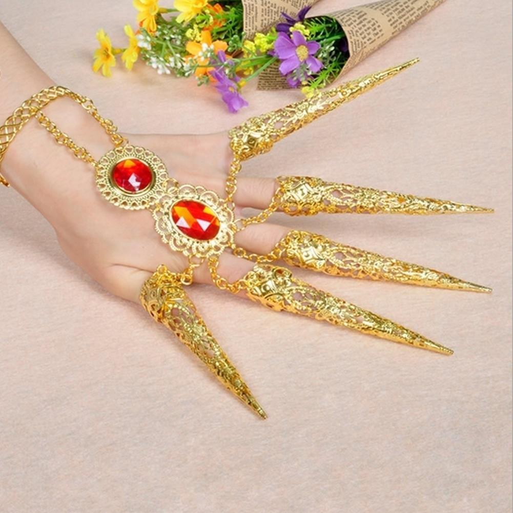 Fashion JewelryGirl/'s Belly Dance Finger Indian Thai Golden Finger Bracelet
