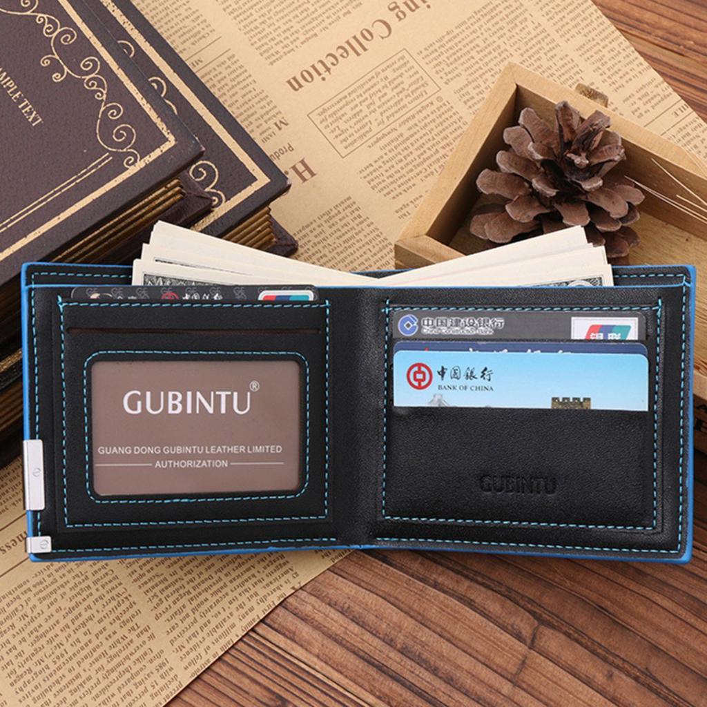 Ultra Thin GUBINTU Korean Style Fashionable PU Leather Casual Man Short Wallet
