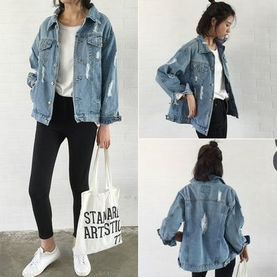 34576c5e6c1 Винтажной моды женщин длинные рукава открытые отверстия джинсовая куртка  Женские джинсы Пальто Пиджаки случайных девочек