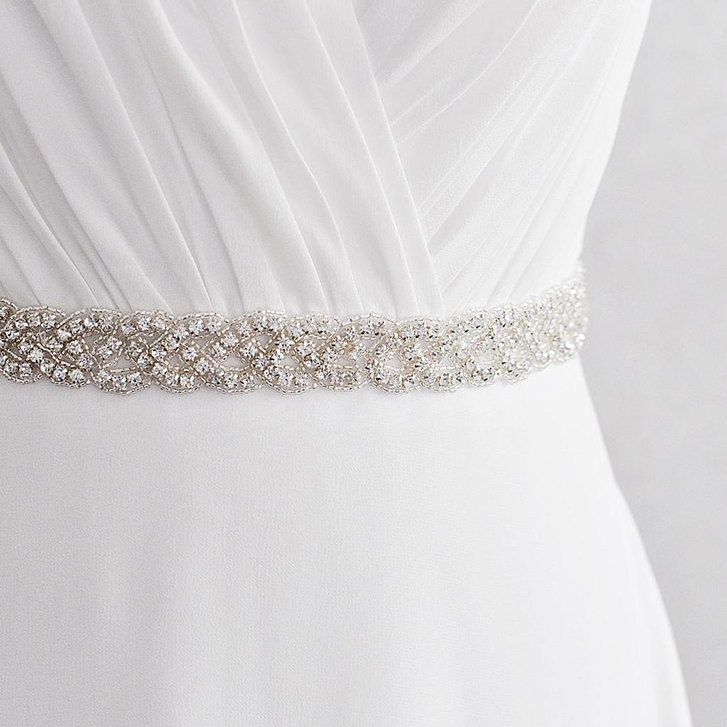 Women Drill Belt Wedding Party Bridal and Bridesmade Dress Decoration Belt Blue