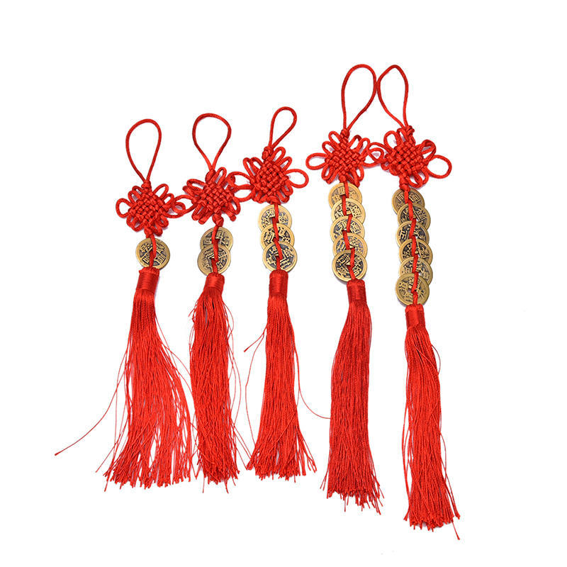 Chinese Feng Shui Protection Fortune Lucky Charm Red Tassel String Tied Coin.CA