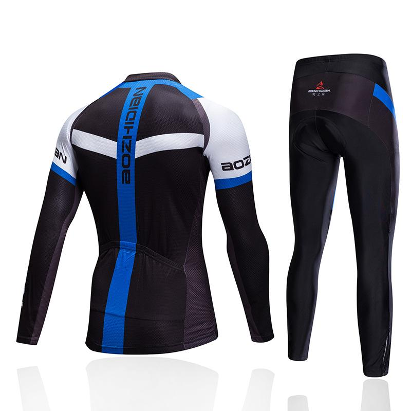 Unisex Cycling Jersey Pant Set Long Sleeve Tops Gel Padded Trouser Cycling Wear