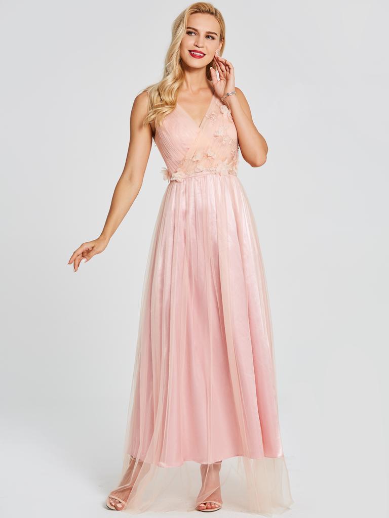V cuello flor sin respaldo una línea vestido de fiesta - comprar a ...