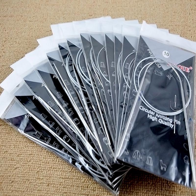 65cm 11sizes 43//65//80cm Stainless Steel Circular Knitting Needles Weave Set Handcraft Sweater Needlework Tools Accessories