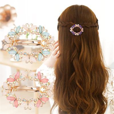 Women Girls Crystal Pearl Bead Flower Barrette Hair Clip Clamp Hairpin Fashion