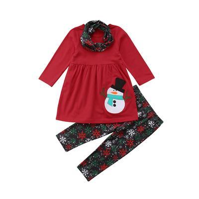 adda60f1b Infant Baby Girl 3Pc Christmas Clothes Sets Santa Claus Dress Pants ...