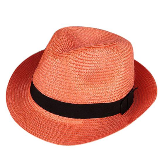 83cd83e9ecb Hat unisex fashion summer beach trilby fedoras straw panama sun hat cuban  cap orange
