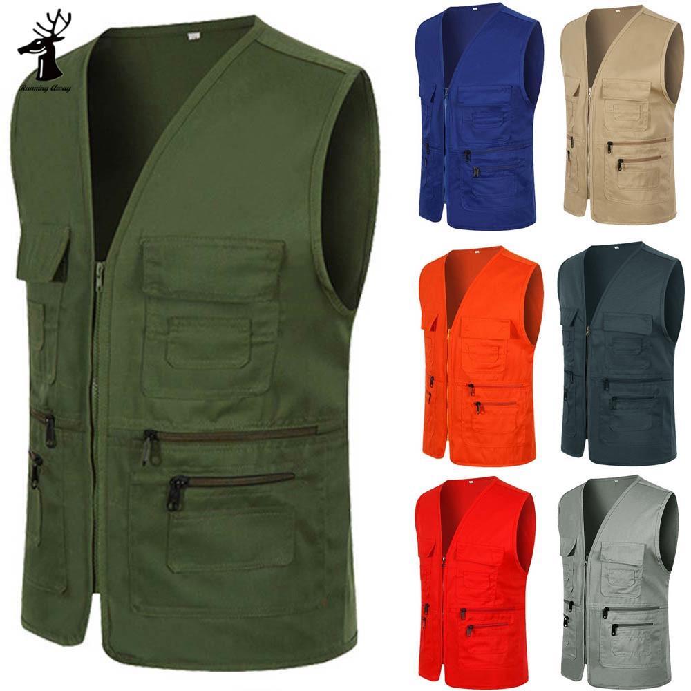 РА Мужчины Блузка Случайный британский костюм Multi Карманный куртка Пальто zipper sleeveless Вест – купить по низким ценам в интернет-магазине Joom